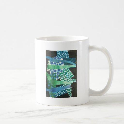 verde azul abstracto taza básica blanca