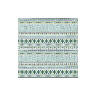 Verde azul blanco del modelo tribal azteca del imán de piedra