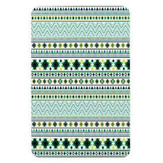 Verde azul blanco del modelo tribal azteca del iman de vinilo