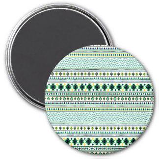 Verde azul blanco del modelo tribal azteca del imán redondo 7 cm