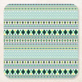 Verde azul blanco del modelo tribal azteca del posavasos desechable cuadrado