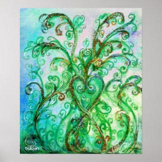 Verde azul brillante de los FLOURISHES CAPRICHOSOS Poster