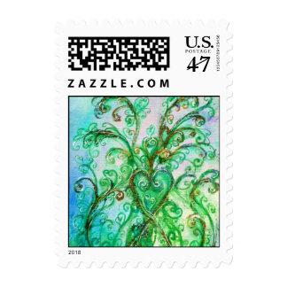 Verde azul brillante de los FLOURISHES CAPRICHOSOS Timbre Postal