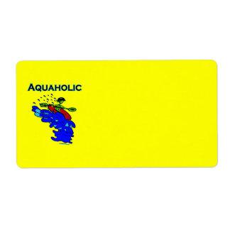 Verde azul de Aquaholic del Kayaker de Whitewater Etiqueta De Envío