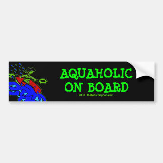 Verde azul de Aquaholic del Kayaker de Whitewater Pegatina Para Auto