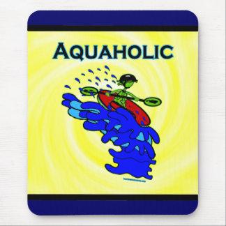 Verde azul de Aquaholic del Kayaker de Whitewater Tapetes De Raton