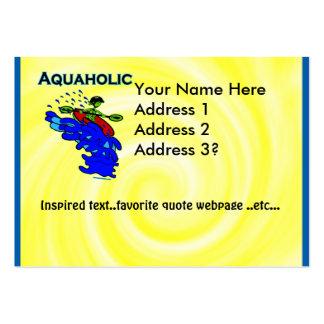 Verde azul de Aquaholic del Kayaker de Whitewater Tarjetas De Visita Grandes