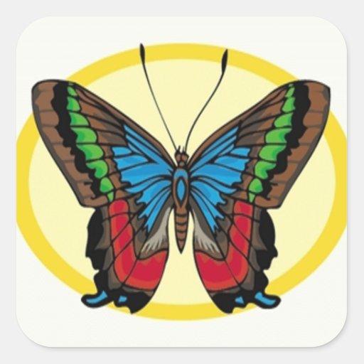 Verde azul de Brown y mariposa de alas rojas Calcomanías Cuadradas Personalizadas