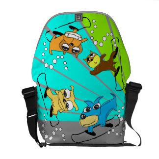 Verde azul de la bolsa de mensajero del perro de l bolsa messenger