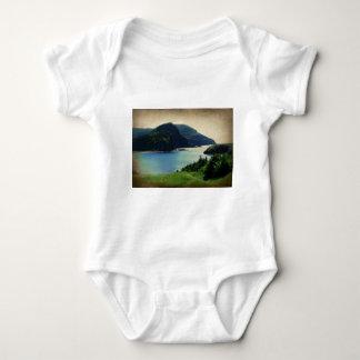 Verde azul de la costa de las montañas del puerto body para bebé