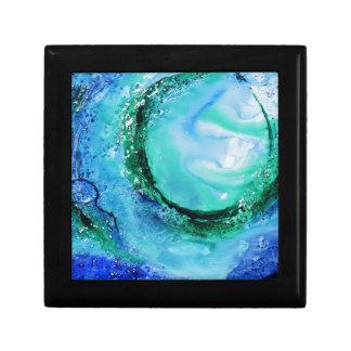 Verde azul de la onda de la bella arte del amante  caja de joyas