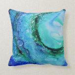 Verde azul de la onda de la bella arte del amante  cojin