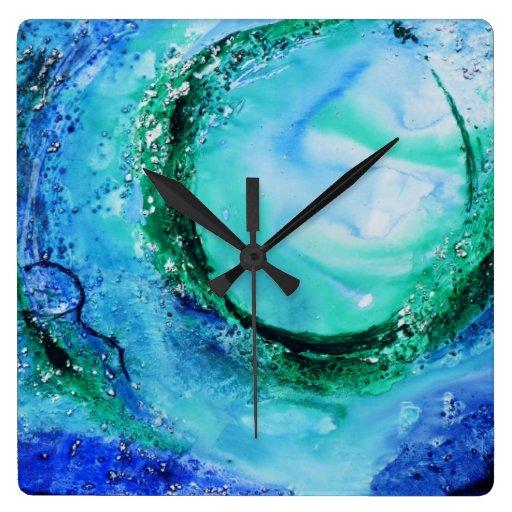 Verde azul de la onda de la bella arte del amante  reloj cuadrado
