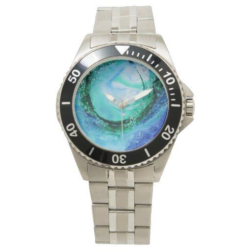 Verde azul de la onda de la bella arte del amante relojes de mano