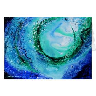 Verde azul de la onda de la bella arte del amante tarjeta de felicitación