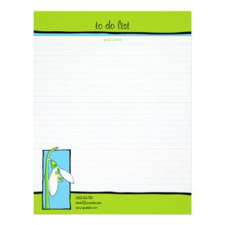 Verde azul de Snowdrop para hacer la lista Plantillas De Membrete
