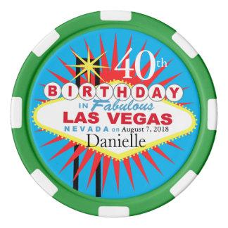 Verde azul del 40.o del cumpleaños de Las Vegas Fichas De Póquer