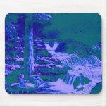 Verde azul del bosque de los jardines de las alfombrillas de raton