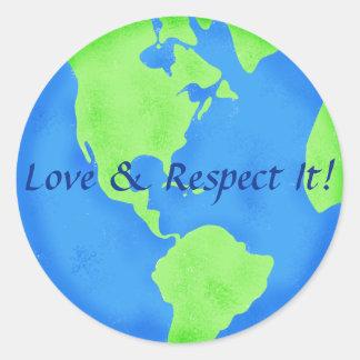 Verde azul del globo de la tierra del amor y del pegatina redonda
