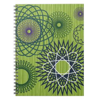 Verde azul del modelo geométrico del Spirograph Libro De Apuntes