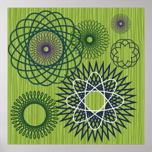 Verde azul del modelo geométrico del Spirograph Posters
