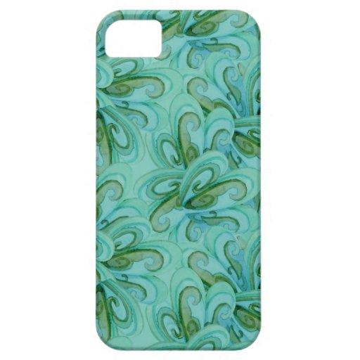Verde azul del remolino de la aguamarina elegante funda para iPhone SE/5/5s