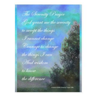 Verde azul del rezo de la serenidad tarjetas postales