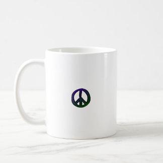 Verde azul del signo de la paz mini - taza básica blanca