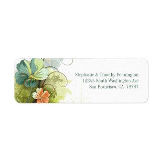 Verde azul + etiqueta de dirección floral del boda