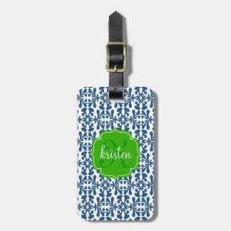 Verde azul moderno del damasco del Arabesque perso Etiquetas Maletas