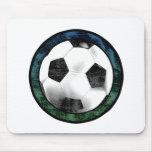 Verde azul Mousepad del emblema del fútbol Tapetes De Ratones