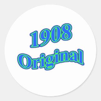 Verde azul original 1908 etiquetas redondas