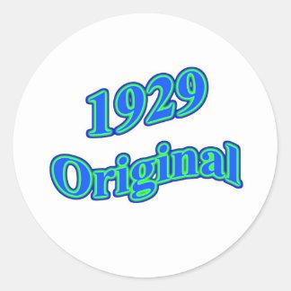 Verde azul original 1929 etiquetas redondas