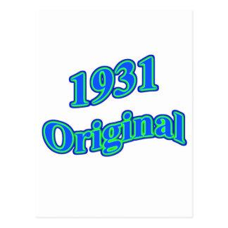Verde azul original 1931 postal