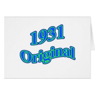 Verde azul original 1931 tarjeta de felicitación