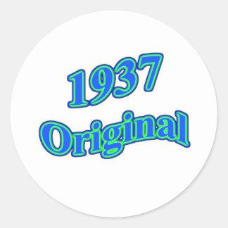 Verde azul original 1937 etiquetas redondas