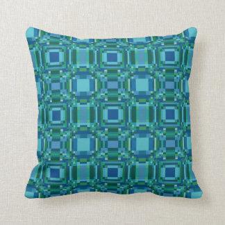 Verde azul Pixelated geométrico Almohadas