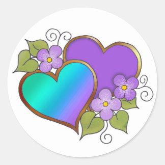 Verde azul púrpura Rainbows-007 Etiquetas Redondas