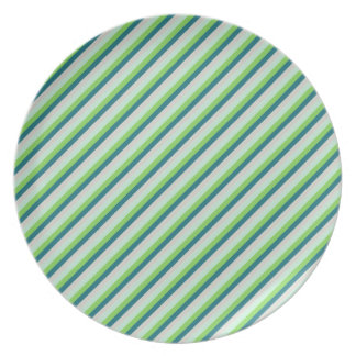 Verde, azul, rayas de la diagonal del trullo platos