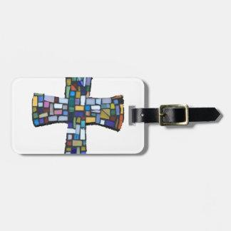 verde azul rojo coloreado mosaico cruzado cristian etiquetas bolsa