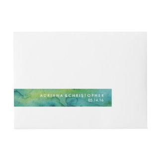 Verde azul y etiqueta de encargo del abrigo de la etiquetas postales