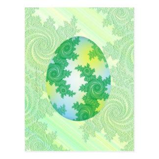 Verde, azul y huevo pintado amarillo postal
