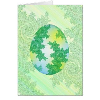 Verde, azul y huevo pintado amarillo tarjeta de felicitación