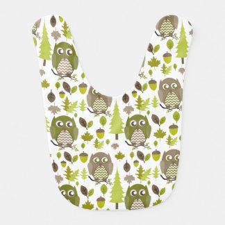 Verde + Babero del bebé de los búhos de Brown Chev