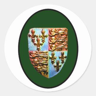 Verde BG del escudo de la iglesia de Inglaterra Pegatina Redonda