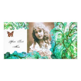 Verde blanco azul brillante de los FLOURISHES CAPR Tarjeta Fotografica Personalizada