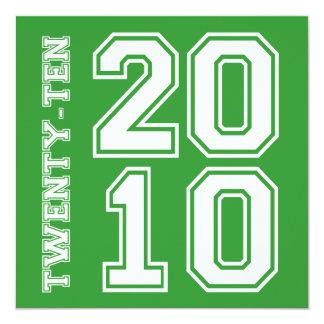 verde blanco de la invitación de la graduación