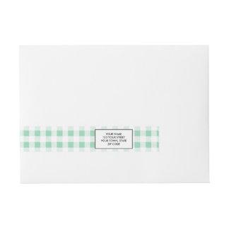 Verde blanco de PatternMint de la guinga de la Etiquetas Envolventes De Dirección