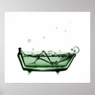Verde blanco del baño esquelético de la radiografí posters