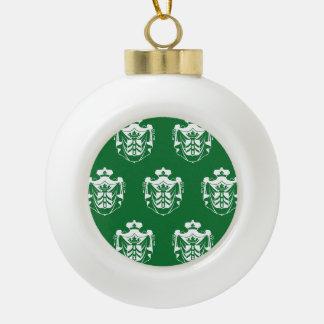 Verde blanco del escudo de la familia adorno de cerámica en forma de bola